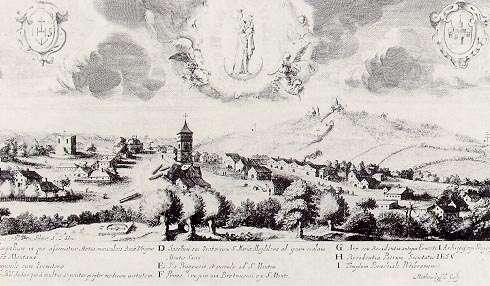 Příbram se Svatou Horou po třicetileté válce. Rytina M.Küssela, pořízená podle kresby B.Šlajera a otištěná v Balbínově knize Diva Montis Sancti z r. 1665