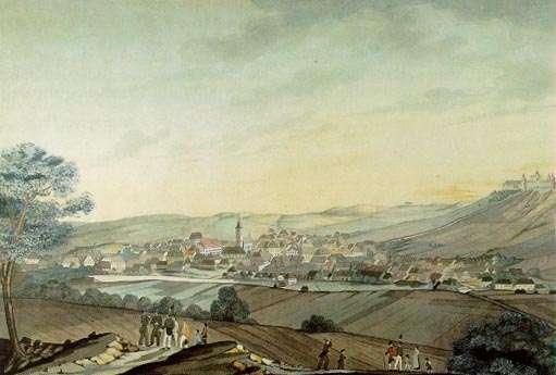Příbram v roce 1829. Akvarel J.Mrkose